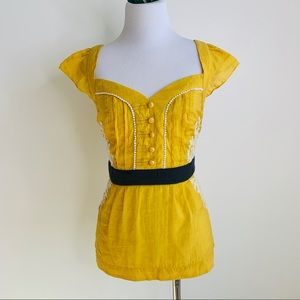 Floreat by Anthro vintage inspired yellow top